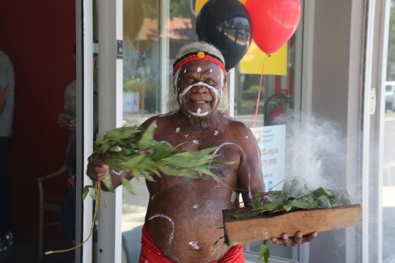 Uncle Max Eulo performs traditional smoking ceremony