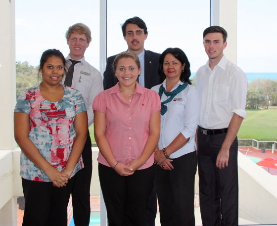 Graduating trainees: Sam Kapeen (SBT with CBA Yamba), Jai Beetson (SBT + FTT with ANZ Byron Bay), Kade Grade, Reanna Stacey (SBT with NAB Nambucca Heads), Maddy Duroux-Bloem and their Account Consultant, Gai Southwell