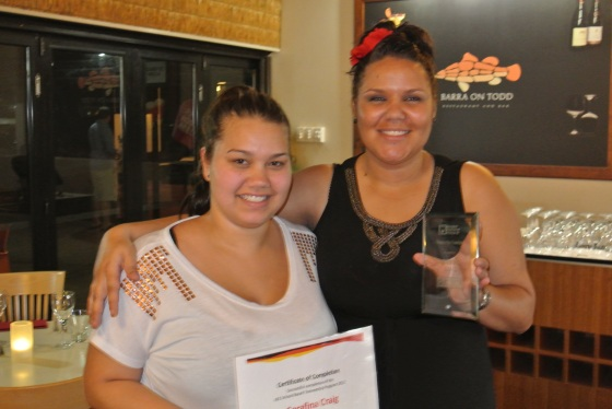 School Based Trainee Serafina Craig and Alice Springs AES Business Development and Operations Manager Tania Kells