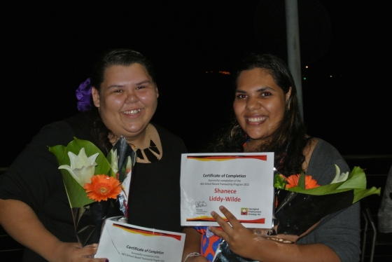 Graduating trainees Jaylene Ross and Shanice Liddy-Wilde